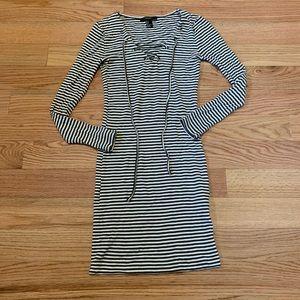 {F21} Lace Up Striped Dress